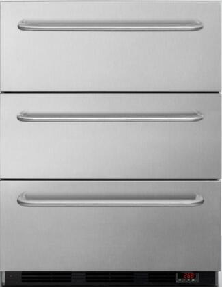 """EQTemp EQFM3DT 24"""" 3 Drawer Freezer with 3.2 cu. ft. Capacity, Digital thermostat, 3 Professional Towel Bar Handles, Manual Defrost, Hospital Grade Cord, in Stainless Steel"""