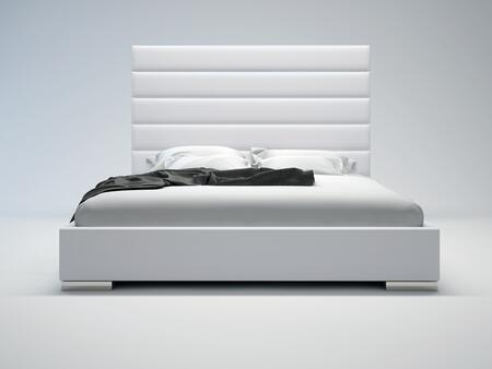 Modloft MD319KWHT Prince Series  King Size Platform Bed