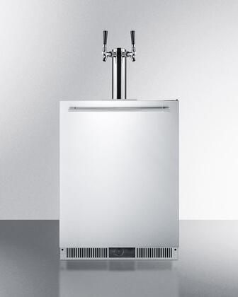 """Summit SBC590X 24"""" 5.7 cu. ft. Built-In Beer Dispenser with Frost-Free Operation, Reversible Door, Dual Tap System, Adjustable Thermostat, Stainless Steel Drip Tray and Dual Tap System in Stainless Steel"""