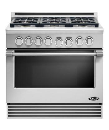 """DCS RGV366L 36"""" Professional Series Slide-in Gas Range with Sealed Burner Cooktop, 5.3 cu. ft. Primary Oven Capacity, in Stainless Steel"""