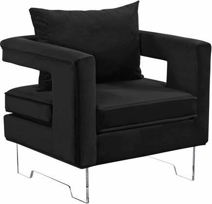 "Meridian Carson 502X 33"" Accent Chair with Acrylic Legs, Contemporary Design and Velvet Upholstery in"