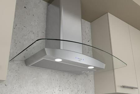 Zephyr ZRVxxBGx Essentials Europa Ravenna Curved Glass Wall Mount Hood with 600 CFM Internal Blower, ACT Internal Blower, 5 Speed ICON Touch Controls, Auto Delay Off and Dual Level Lighting, in Stainless Steel