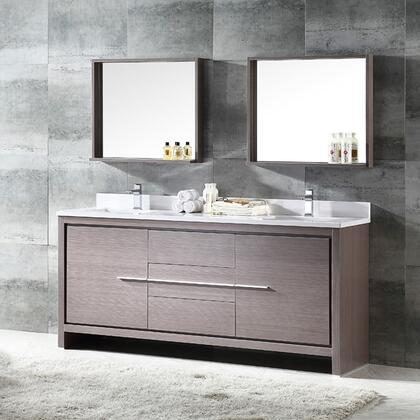 """Fresca Allier Collection FVN8172 72"""" Modern Double Sink Bathroom Vanity with Mirror, 3 Soft Closing Drawers and Undermount Ceramic Sinks in"""