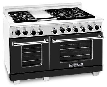"American Range ARR4842GRBK 48"" Heritage Classic Series Gas Freestanding Range with Sealed Burner Cooktop, 4.8 cu. ft. Primary Oven Capacity, in Black"