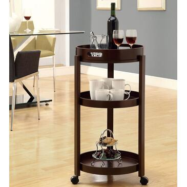 Monarch I 334 Bar Cart, with Serving Tray, Three Shelves, and Casters