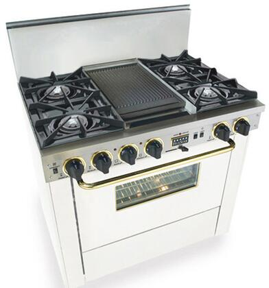 """FiveStar WPN3257SW 36"""" Dual Fuel Freestanding Range with Open Burner Cooktop, 3.69 cu. ft. Primary Oven Capacity, in White with Brass"""