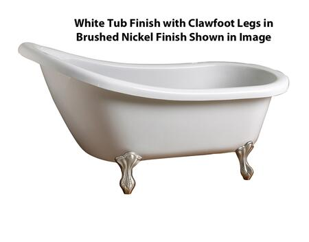 "Barclay ATS54 Dreiser 54"" Acrylic Roll Top Slipper Tub, with White Tub Finish, Overflow, Clawfoot Design, , with Clawfoot Finish in"