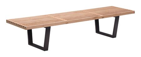 Zuo 50011X Heywood Bench with Wood Top in Natural Finish