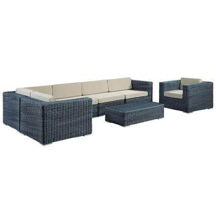 Modway Summon Collection EEI-1892-GRY-XXX-SET 7-Piece Outdoor Patio Sunbrella Sectional Set with Arm Chair, Coffee Table, 3x Corner Chairs and 2x Armless Chairs in
