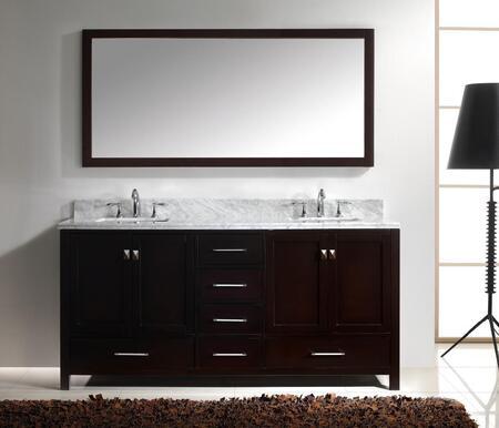"Virtu USA GD-50072 Virtu USA 72"" Caroline Avenue Double Sink Bathroom Vanity in Espresso with Italian Carrara White Marble"