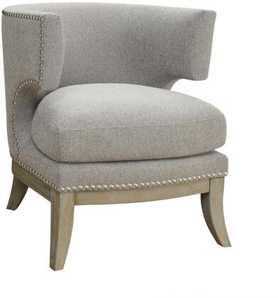 """Coaster Accent Seating 31.5"""" Accent Chair with Barrel Back Design, High Arms, Cut Out Long Base, Thick Seat Cushion, Nail Head Trim and Fabric Upholstery in"""