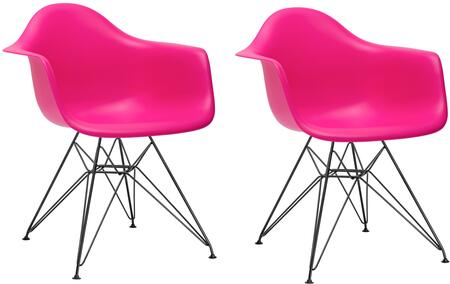 EdgeMod EM111BLKFUSX2 Padget Series Modern Metal Frame Dining Room Chair