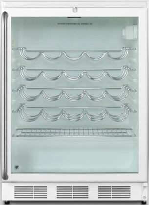 "Summit SWC6GWLx 24"" Commercially Approved Under-Counter Wine-Cellar with 5.5 cu. ft. Capacity, Factory Installed Lock and Double Pane Tempered Glass Door, in White with"