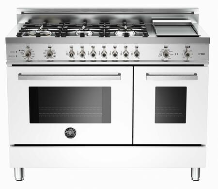 "Bertazzoni PRO486GDFSBILP 48"" Professional Series Dual Fuel Freestanding Range with Sealed Burner Cooktop, 3.4 cu. ft. Primary Oven Capacity, in Pure White"