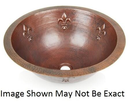 D'Vontz LV0004L15SC Fleur De Lis Round Copper Undermount Sink With 77% Recycled Copper, 99% Pure Copper & Shiny Copper