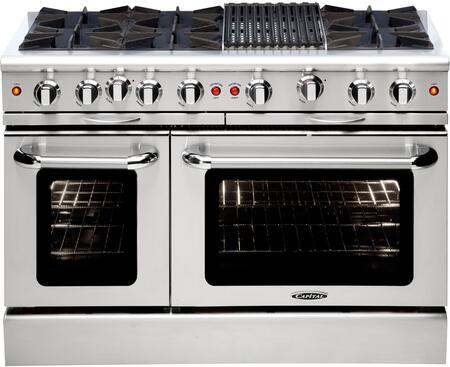 "Capital Culinarian MCOR486B 48"" X Freestanding Range with 6 Open Burners, 4.9 Cu. Ft. Capacity, Seconardy 2.7 Cu. Ft. Oven Cavity, 12"" Broil Burner, EZ-Glides, and Back Trim, in Stainless Steel"