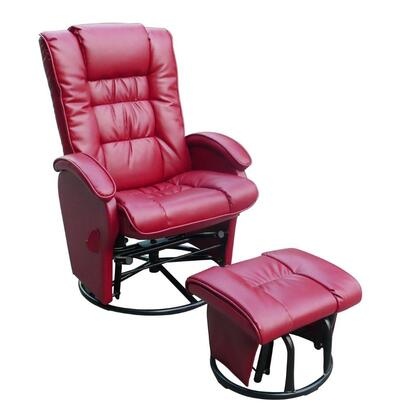 Dezmo D80696PG Push Back Recliner, Glider Rocker with Swivel, and Brake, Includes FREE Ottoman, with Bonded Leather