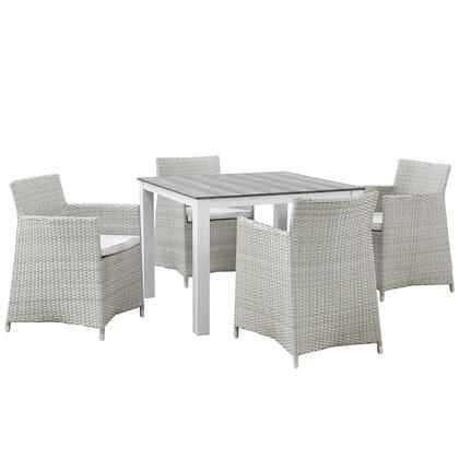 Modway Junction Collection 5 PC Outdoor Patio Dining Set with Powder Coated Aluminum Frame, Plastic Base Glides and Synthetic Rattan Weave Material in