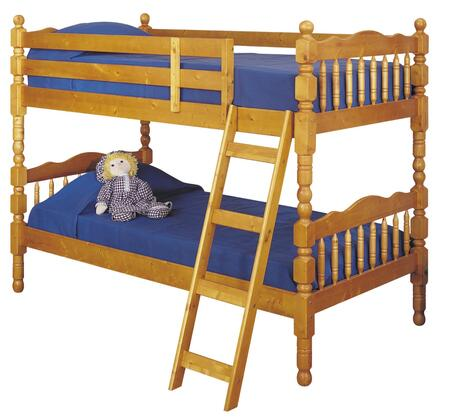 Acme Furniture Homestead Collection Twin Over Twin Size Bunk Bed with Sturdy Built-In Ladder, Guard Rails, Vertical Slats, Cannonball Turned Posts and Pine Wood Construction