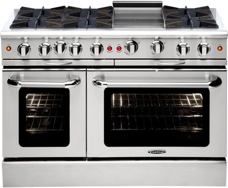 "Capital MCOR486GN 48"" Culinarian Series Gas Freestanding Range with Open Burner Cooktop, 4.9 cu. ft. Primary Oven Capacity, in Stainless Steel"