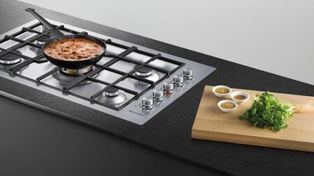 "Fisher Paykel CG365DW 36"" Gas Cooktop with 5 Sealed Burners including a Dual Wok Burner, Cast Iron Trivets, Electronic Ignition and Light Up Knobs, in Stainless Steel"
