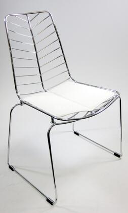 Fine Mod Imports FMI2014WHITE Wire Series Armless Leather Polished Steel Frame Accent Chair