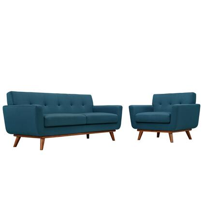 Modway EEI-1346 Engage Armchair and Loveseat Set of 2 with Modern Design, Cherry Color Rubber Wood, Plastic Glides, 440 lbs. Weight Capacity and 100% Polyester Upholstery