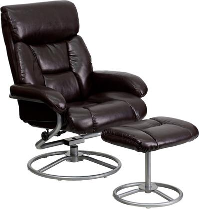 Flash Furniture BT70230CIRGG Contemporary Leather Recliner and Ottoman with Metal Base