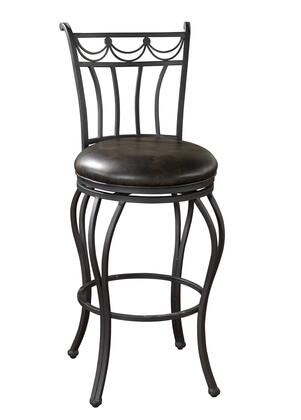 American Heritage Abella Series 912AGIR Leather Swivel Stool Finished in Aged Iron with Tobacco