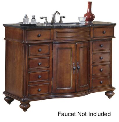 "Kaco Arlington Collection 5300-4800-1005 48"" Vanity with 2 Doors, 10 Drawers and Fluted Pilasters in Distressed Cherry Finish with X Top"