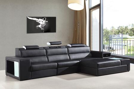 VIG Furniture VGEV5022BBLK Divani Casa Polaris Series Sofa and Chaise Bonded Leather Sofa