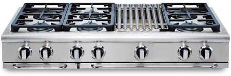 "Capital Precision Series GRT486B-X 48"" Pro-Style X Range Top with 4 Burners, 12"" Adjustable Hybrid Radiant BBQ, and Auto-Ignition/Re-Ignition, in Stainless Steel"