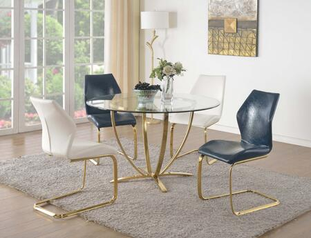 Chintaly NICOLE5PC NICOLE DINING 5 Piece Set - Clear Glass 4-Star Metal Plated Base Dining Table with 4 Ergonomic Design Cantilever Side Chairs