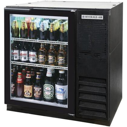 "Beverage-Air BB36 36"" One [Solid] Door, [Food Rated] Back Bar Refrigerator,  8.8 cu. ft. Capacity, [Black] Exterior and Side Mounted Compressor"