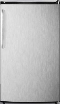 "Summit FF4xESCSSx 19"" Energy Star Compact Refrigerator with 3.6 cu. ft. Capacity, Adjustable Shelves, Crisper, Automatic Defrost and Adjustable Thermostat, in Stainless Steel with Towel Bar Handle"