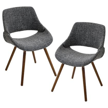 "LumiSource Fabrico CH-FBCO WL Set of (2) 22"" Chair with Open Design Backrest, Fabric Upholstery and Solid Wood Legs in"