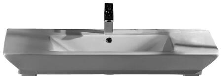 """Barclay B/96WH Opulence Large Rectangular Basin Only, with Pre-drilled Faucet Holes, Overflow, 4.5"""" Basin Depth, and Fine Fireclay Construction, in White"""