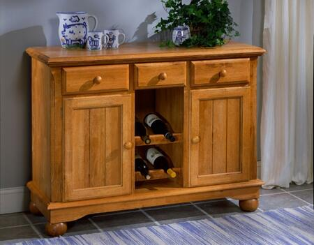 """AAmerica 9010 British Isles 48"""" Server with Wine Rack, Felt Lined Top Drawers and Wood on Wood Glides in"""