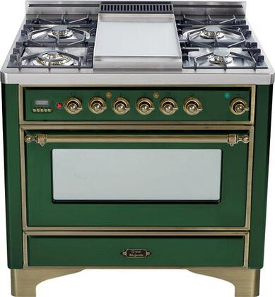 "Ilve UM90FVGGVSY 36"" Majestic Series Gas Freestanding Range with Sealed Burner Cooktop, 3.5 cu. ft. Primary Oven Capacity, Warming in Emerald Green"