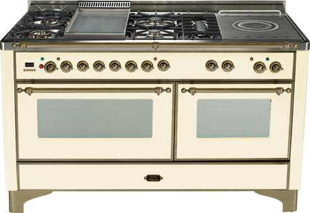 """Ilve UM150SMPAY 60"""" Majestic Series Dual Fuel Freestanding Range with Sealed Burner Cooktop, 2.8 cu. ft. Primary Oven Capacity, Warming in Antique White"""
