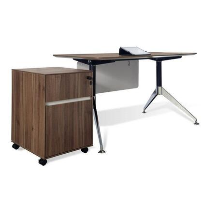 """Unique Furniture 300 Collection 17"""" Filing Cabinet with 1 File Drawer, 1 Utility Drawer, Drawer Lock, Castors, Non Scratch Surface, Wood and Steel Construction in"""