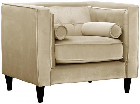 """Meridian Taylor Collection 642-C 40"""" Chair with Top Quality Velvet Upholstery, Accent Pillows and Button Tufting in"""