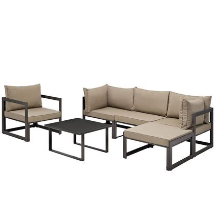 Modway Fortuna Collection 6 PC Outdoor Patio Sectional Sofa Set with 2 Corner Chairs, 1 Armless Chair, 1 Armchair, 1 Ottoman, Tempered Glass Top Coffee Table and Fabric Cushions