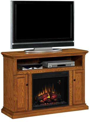 Classic Flame 23MM378 Cannes Electric Fireplace Media Cabinet with 3-Way Adjustable Concealed Euro Hinges, Adjustable Wood Shelves, Open Center Shelf and Integrated Wire Management in