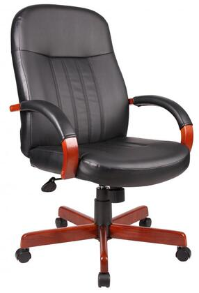 "Boss B8376 41""  LeatherPlus Executive Chair with Lumbar Support, Hardwood Arms, Hooded Double Wheel Casters, Pneumatic Gas Lift Seat Height Adjustment and Adjustable Tilt Tension Control"
