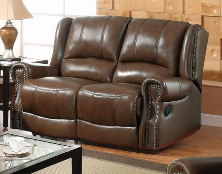 Yuan Tai GM5500LCH Gambell Series Leather Loveseat with Wood Frame Loveseat
