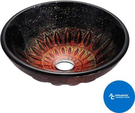 "Kraus GV68119MMX Multicolor Series 17"" Magma Round Vessel Sink with 19-mm Tempered Glass Construction, Easy-to-Clean Polished Surface, and Included Pop-Up Drain with Mounting Ring"