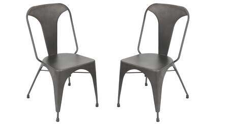 "LumiSource Austin DC-TW-AU Set of (2) 33"" Dining Chair with Slat Back, Slanted Legs and Steel Frame in"