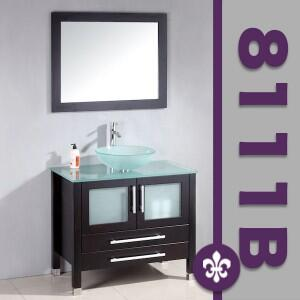 """Cambridge 8111BX 36"""" Solid Wood Glass Vessel Sink Set with a Faucet"""