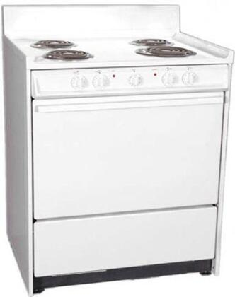 """Summit WEM2171Q 30""""  White Electric Freestanding Range with Coil Element Cooktop, 3.6 cu. ft. Primary Oven Capacity, Storage"""